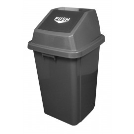 Trash Garbage Can Bin with Push Down Lid - 26 gal (100 L) - Grey and Black