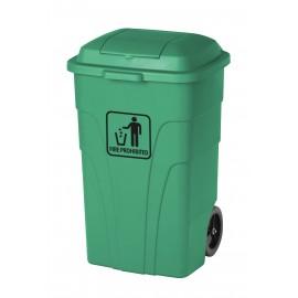 Trash Garbage Can Bin - Heavy Duty - with Lid - on Wheels - 63.4 gal (240 L) - Green