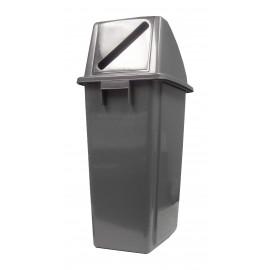 Poubelle pour recyclage du papier - couvercle avec fente - 16 gal (60L) - BIN60PF - grise