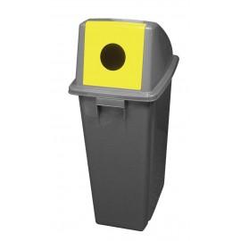 Poubelle pour le recyclage avec couvercle adapté pour les bouteilles - 15,8 gal (60 L) - BIN60PR - grise et jaune
