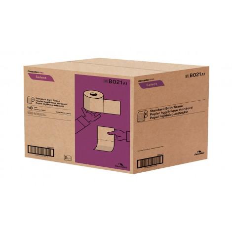 """Papier hygiénique standard - 2 épaisseurs - 4,25"""" x 3.8"""" (10,8 cm x 9,7 cm) - boîte de 48 rouleaux de 420 feuilles - blanc - Cascades Pro B021"""