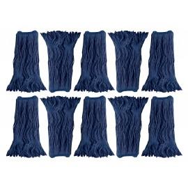 Tête de vadrouille / moppe synthétique de rechange - humide pour laver - 680 g (24 oz) - bleue - boîte de 10