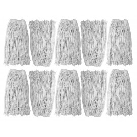 Tête de vadrouille / moppe synthétique de rechange - humide pour laver - 680 g (24 oz) - blanche - boîte de 10