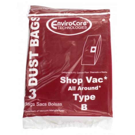 Sac en papier pour aspirateur Shop Vac style B avec capacité du réservoir de 7,7 L (1,7 gallons) - paquet de 3 sacs - Envirocare 370SW