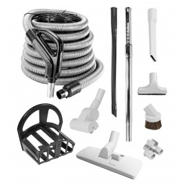 Central Vacuum Kit from Johnny Vac - 35 ' Hose, Complete Brush Kit, Metal Telescopic Wand, Tools - Refurbished