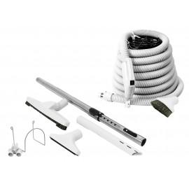 Central Vacuum Cleaner Kit - 30' (9.1m) Hose with On/Off Switch - Floor Brush - Dusting Brush - Upholstery Brush - Crevice Tool - Telescopic Wand - Plastic Tool Caddy on Wand - Metal Hose Hanger - Grey - Demo