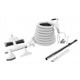 Central Vacuum Kit - 30' (9 m) Grey Hose - Air Nozzle - Floor Brush - Dusting Brush - Upholstery Brush - Crevice Tool -Telescopic Wand - Hose and Tools Hangers