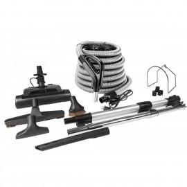 Ensemble pour aspirateur central - boyau électrique 10 m (35') argent - balai électrique - brosse à plancher - brosse à épousseter - brosse pour meubles - outil de coins - manchon télescopique - supports pour boyau et outils - noir