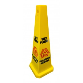 """Bilingual Cone Shaped Floor Sign """"CAUTION WET FLOOR"""" - 4-Sided Imprint - Yellow - Height 36"""" (91.4 cm)"""