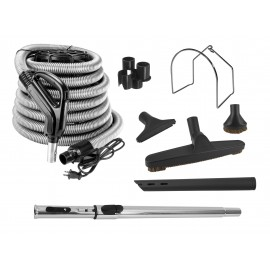 Central Vacuum Cleaner Kit - 35' (10 m) Hose - Swivel Handle - Floor Brush - Dusting Brush - Upholstery Brush - Crevice Tool - Telescopic Wand - Plastic Tool Caddy on Wand - Metal Hose Hanger - Black