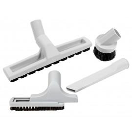 Central Vacuum Brush Kit - Floor Brush on Wheels - Dusting Brush - Upholstery Brush - Crevice Tool - Grey