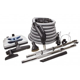 Central Vacuum Kit - 30' (9 m) Silver Electrical Hose - Power Nozzle - Floor Brush - Dusting Brush - Upholstery Brush - Crevice Tool - 2 Telescopic Wands - Hose and Tools Hangers - Black