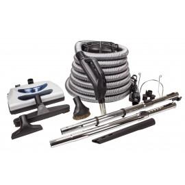 Ensemble pour aspirateur central - boyau 10 m (35') argent - balai électrique - brosse à plancher - brosse à épousseter - brosse pour meubles - outil de coins - 2 manchons télescopiques - supports pour boyau et outils - noir