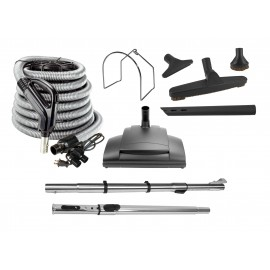 Central Vacuum Cleaner Kit - 35' (10 m) Hose - Power Nozzle - Floor Brush - Dusting Brush - Upholstery Brush - Crevice Tool - Telescopic Wand - Plastic Tool Caddy on Wand - Metal Hose Hanger - Grey