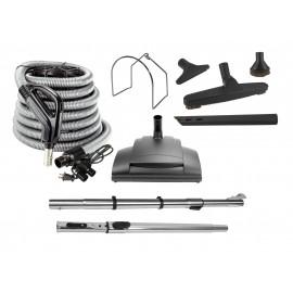 Ensemble pour aspirateur central - boyau de 10 m (35') - balai électrique - brosse à plancher - brosse à épousseter - brosse pour meubles - outil de coins - manchon télescopique - support à outils sur manchon - support à boyau en métal - noir