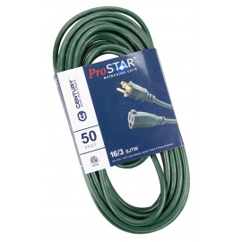 50' Extension Cord, 3-Wire Grounded, 16/3 SJTW, -40 C (-40 F) Cold Weather Jacket, Water & Flame Resistant, 13 A, 125 V, Green