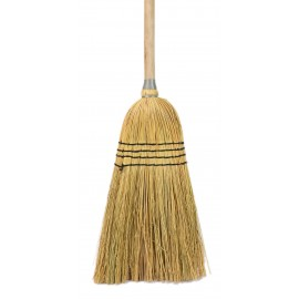 """Rustic-Style straw broom with 4 strings providing a firmer sweep with 1"""" diameter wooden handle with metal wire firmly securing the straw to the handle."""