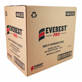Quality Bathroom Tissue - 2-Ply - Box of 48 Rolls of 420 Sheets - SUNSET Everest Pro 48420