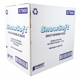 "Virgin Bathroom Tissue - 2-Ply - Box of 48 Rolls of 420 Sheets - 4.25"" X 3.5"" - SUNSET Snow Soft 7000"