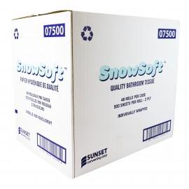 "Virgin Bathroom Tissue - 2-Ply - Box of 48 Rolls of 500 Sheets - 4.25"" X 3.5"" - SUNSET Snow Soft 7500"