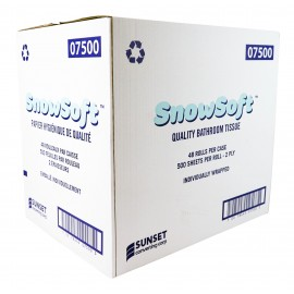 """Papier hygiénique vierge - 2 épaisseurs - 48 rouleaux de 500 feuilles - 4.25"""" X 3.5"""" - SUNSET Snow Soft 7500"""