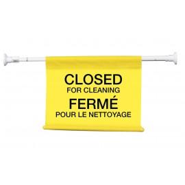 """Affiche suspendue avec inscription bilingue : «Fermé pour le nettoyage» - tige extensible qui s'étire de 4"""" (10,1 cm) jusqu'à 50"""" (127 cm)"""