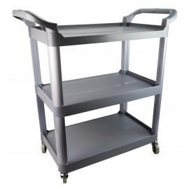 Service / Utility Cart - 3 Shelves - 4 Swivel Casters / Wheels - Grey