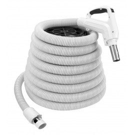 Hose for Central Vacuum - 40' (12,2 m) - Ergonomic Handle with Foam Grip and 360° Swivel - Grey - Button Lock - On/Off Button