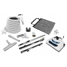 Central Vacuum Kit - 30' (9 m) Electrical Hose - Hose Gas Pump Handle - Power Nozzle - Floor Brush - Dusting Brush - Upholstery Brush - Crevice Tool - 3 Telescopic Wands - Hose and Tools Hangers