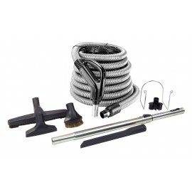 Central Vacuum Cleaner Kit - 40' (12 m) - Hose Gas Pump Handle - Floor Brush - Dusting Brush - Upholstery Brush - Crevice Tool - Telescopic Wand - Plastic Tool Caddy on Wand - Metal Hose Hanger