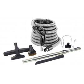 Ensemble pour aspirateur central - boyau de 12 m (40') - poignée pompe à gaz - brosse à plancher - brosse à épousseter - brosse pour meubles - outil de coins - manchon télescopique - support à outils sur manchon - support à boyau en métal