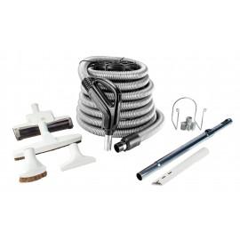 Ensemble pour aspirateur central - boyau 9 m (30') argent - balai à air - brosse à plancher - brosse à épousseter - brosse pour meubles - outil de coins - manchon télescopique - supports pour boyau et outils - gris