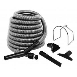 Central Vacuum Kit for Garage - 30' (9 m) Hose - Dusting Brush - Upholstery Brush - Crevice Tool - Metal Hose Hanger - Silver