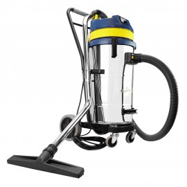 Wet & Dry Commercial Vacuum - Capacity of 7.6 gal (28.8 L) - Metal Tank - On Trolley - Tilting Tank - Electrical Outlet for Power Nozzle - 10' (3 m) Hose - Metal Wands - Brushes and Accessories Included
