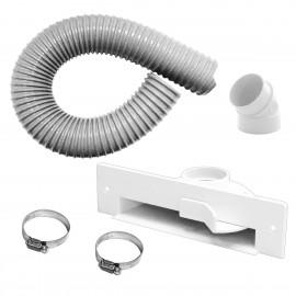Porte-poussière automatique pour aspirateur central - blanc - boyau flexible et kit d'installation inclus