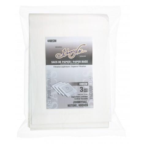 Sac en papier pour aspirateur central Johnny Vac, RhinoVac, Nutone, Hoover - paquet de 3 sacs