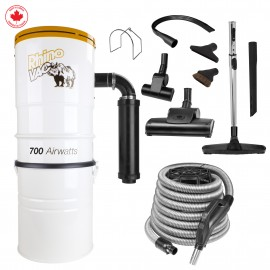 Central Vacuum with Hose, 2 Turbo-air Brushes, Brushes, 2 Crevice Tools, Téléscopic Wands, and Hose support