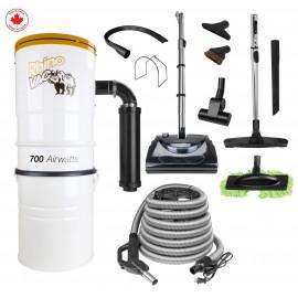 Ensemble d'aspirateur central & accessoires de RhinoVac avec balai électrique