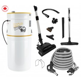 Very Powerful Central Vacuum Kit Designed For Large House from RhinoVac - 35' (11 m) Electric Hose - Two 120 V Motors - 700 Airwatts - HEPA Filtration