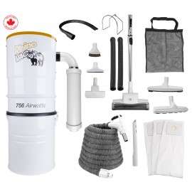 Rhinovac Central Vacuum 756 W - Air Nozzle - 30' (9 m) Hose with Cover - Complete Set of Accessories