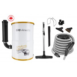 Compact Central Vacuum Kit for Condos from RhinoVac - 30' (9 m) Hose - Accessories & Tools - HEPA Bag