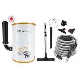 Ensemble d'aspirateur central compact de RhinoVac - Boyau 30' (9 m) - Accessoires et outils - Sac HEPA