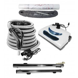 Central Vacuum Kit - 30' (9 m) Silver Electrical Hose - Grey Power Nozzle - Quick Connect Upper Wand - Straight Wand - Hose Cover with Tube