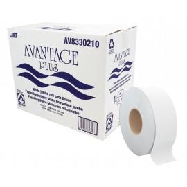 Papier hygienique commercial géant - 10lbs - 2 épaisseurs - boîte de 8 rouleaux - blanc - Avantage Plus AV8330210