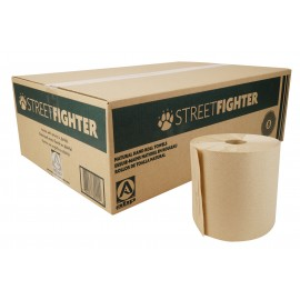 Paper Hand Towel - Roll of 800' (243.8 m) - Box of 6 Rolls - White - StreetFighter ABD8002
