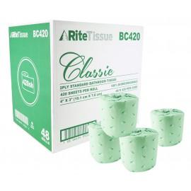 Papier hygiénique 100% biodégradable - 2 épaisseurs - 48 rouleaux de 420 feuilles - SUNSET Classic 48420
