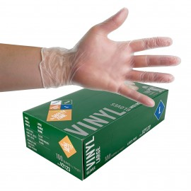Large Vinyl Gloves from The Safety Zone - Latex Free - Clear - Powder Free - Pack of 100