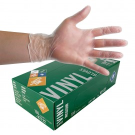 Medium size Vinyl Gloves from The Safety Zone - Latex Free - Clear - Powder Free - Pack of 100