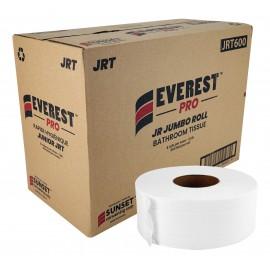 "Commercial Bathroom Tissue - 2-Ply - Box of 8 Rolls - 3,3"" x 600' (8,4 cm x 182,8 m) - SUNJ600"