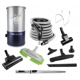 Central Vacuum Kit - 35' (10m) Hose - 12'' (30cm) Air Power Nozzle & Floor Brush - Upholstery Brush and multiple accessories - Telescopic Wand